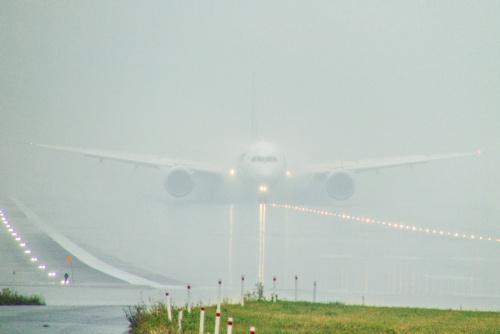 Wyłaniający się z mgły.