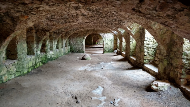 Biała dama za dnia w podziemiach ruin zamku.