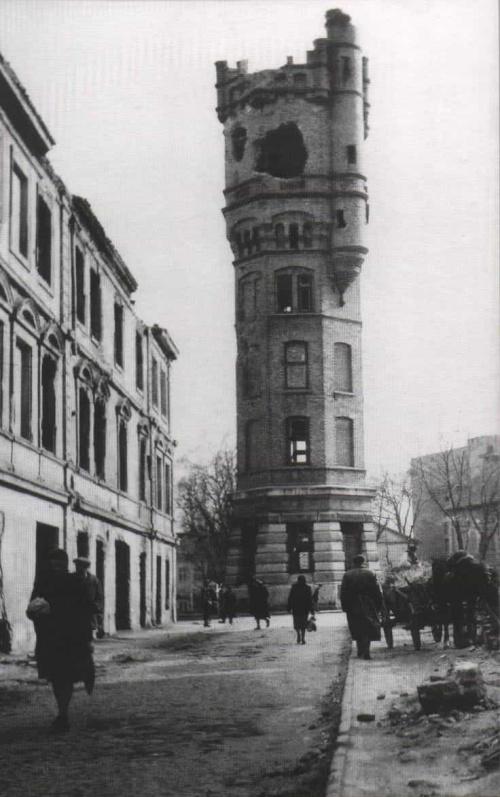 Lubelska wieża ciśnień widok po wojnie